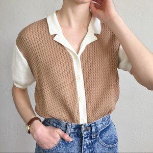 Tan and cream golf button up shirt